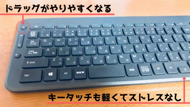 all-in-one keyboard N9Z-00029 レビュー キーボード ファンクションキー Microsoft タッチパッド 赤いライン 矢印と文章 うまく紹介