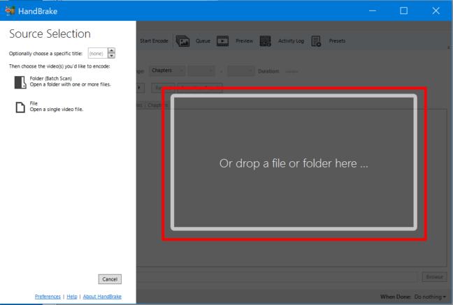 AVCHD 変換 フリーソフト MP4 スマホ 動画 iPhone エンコード ビデオ 赤枠でわかりやすく ファイルを選択 英語表記