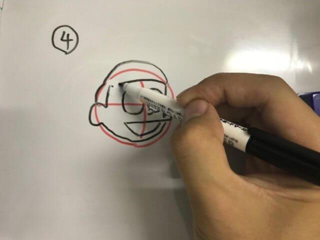 ドラえもん 書き方 のび太 コツ 簡単 誕生日 いつ 赤い丸に沿って書く 輪郭と髪型 4番目