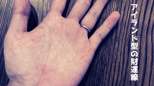 手相 財運線 生命線 二股 健康線 宝くじ アイランド型を赤字で表現 楕円を使った